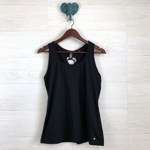 Yogalicious Black Soft Knit Cross Lace Back Tank